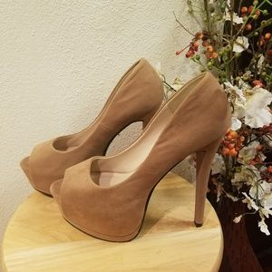 Speed Limit 98 Open Toe Suede Brown Size 9**